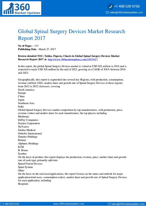 Spinal Surgery Devices Market Sales Outlook; Up-to-date Development Spinal Surgery Devices Market