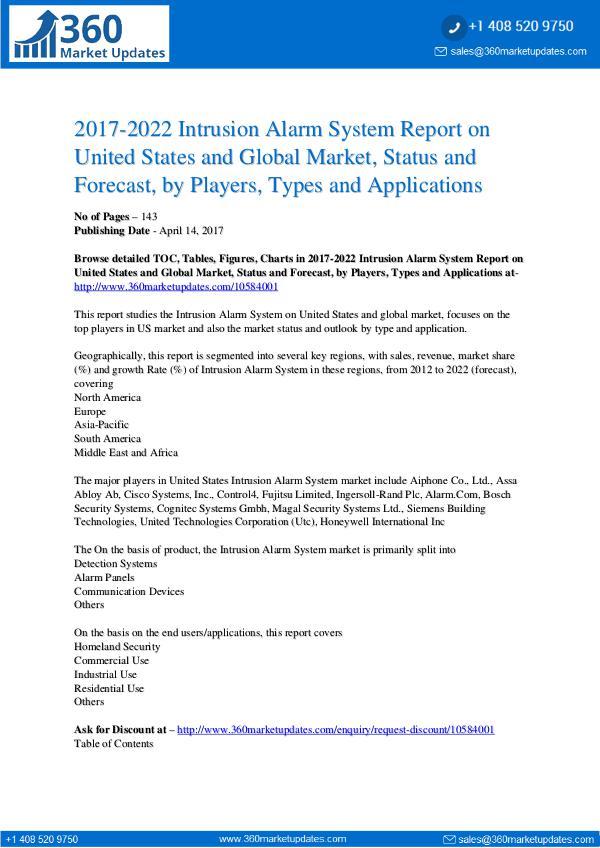 Global & US Intrusion Alarm System Market by Manufacturers, Regions Global & US Intrusion Alarm System Market