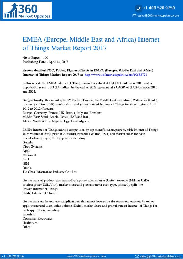 EMEA Internet of Things Market Analysis by Top Key Players, Industry EMEA Internet of Things Market
