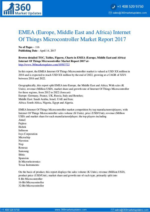 EMEA Internet Of Things Microcontroller Market by Product Types EMEA Internet Of Things Microcontroller Market