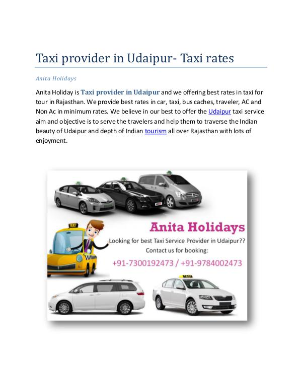 Taxi provider in Udaipur- taxi rates Taxi provider in Udaipur- taxi rates