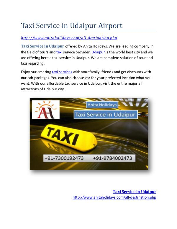 Taxi Service in Udaipur Full Day Taxi Service in Udaipur Airport