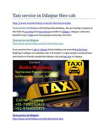 Taxi service in Udaipur Hire cab