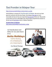 Taxi provider in Udaipur- taxi rates