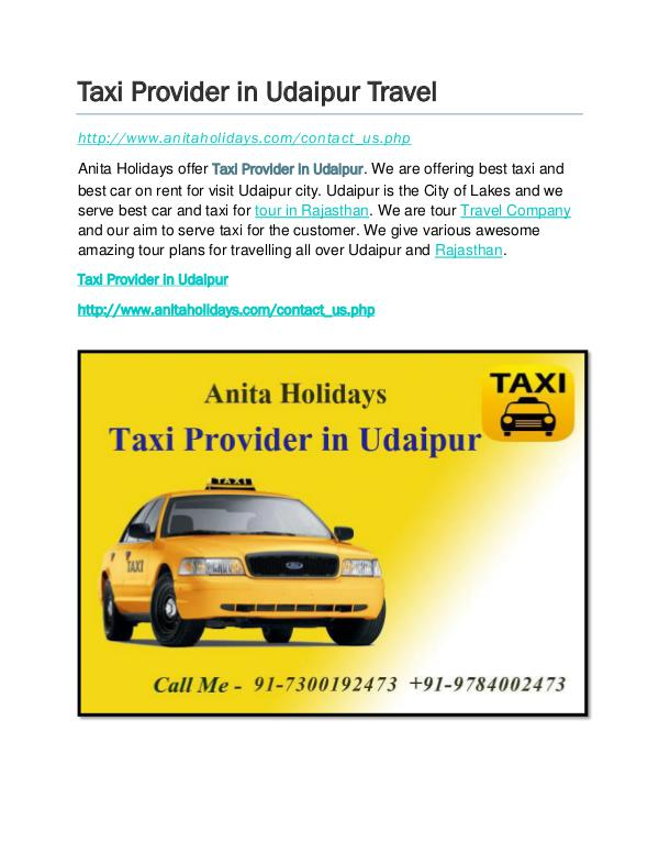 Taxi provider in Udaipur- taxi rates Taxi Provider in Udaipur Travel