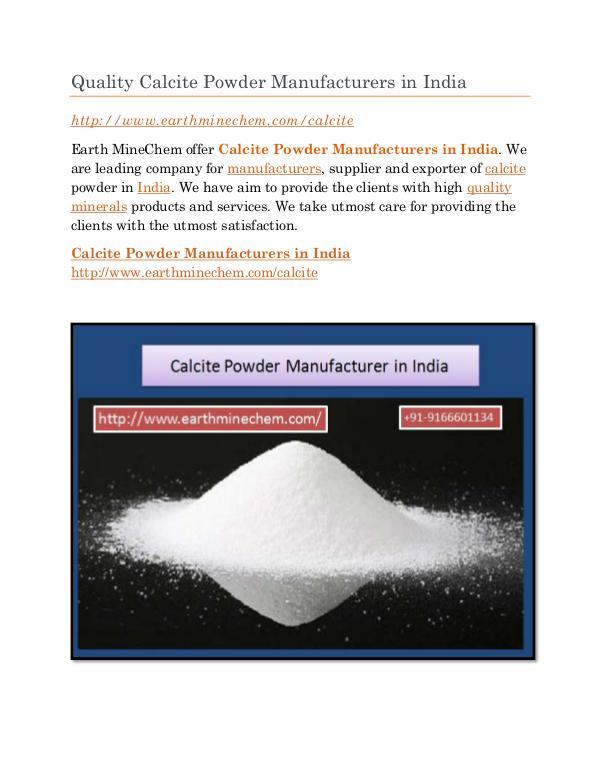 Calcite Powder Manufacturer in India Quality Calcite Powder Manufacturers in India