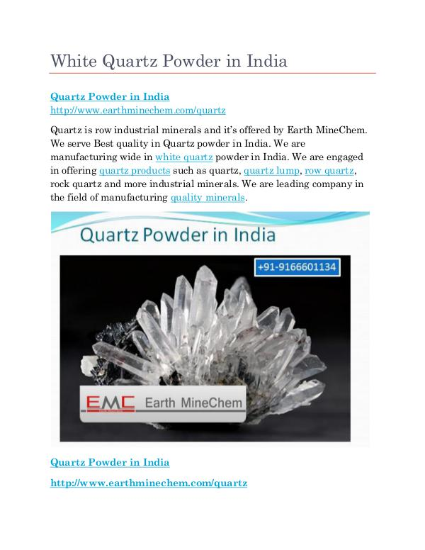 Quartz powder in India White Quartz Powder in India