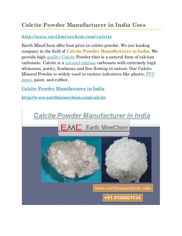 Calcite Powder Manufacturer in India Calcite Powder Manufacturer in India Uses