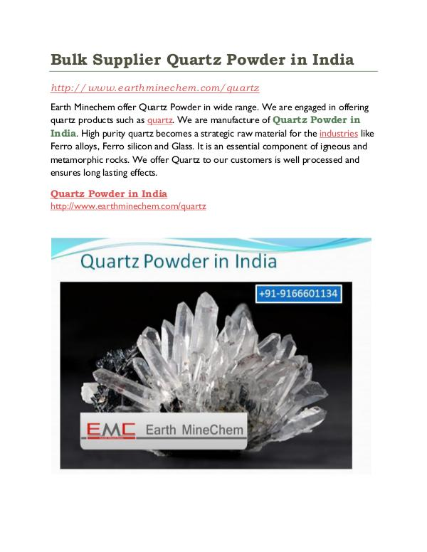 Quartz powder in India Bulk Supplier Quartz Powder in India