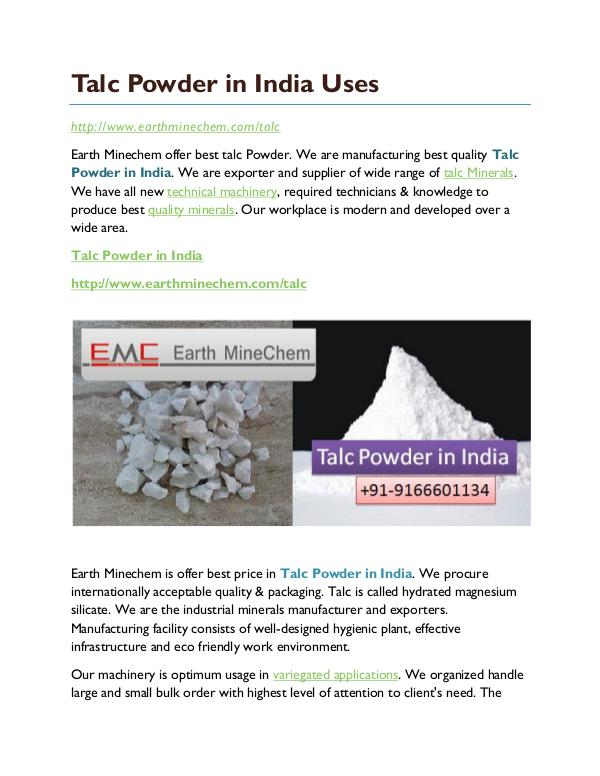 Talc powder in India Talc Powder in India Uses