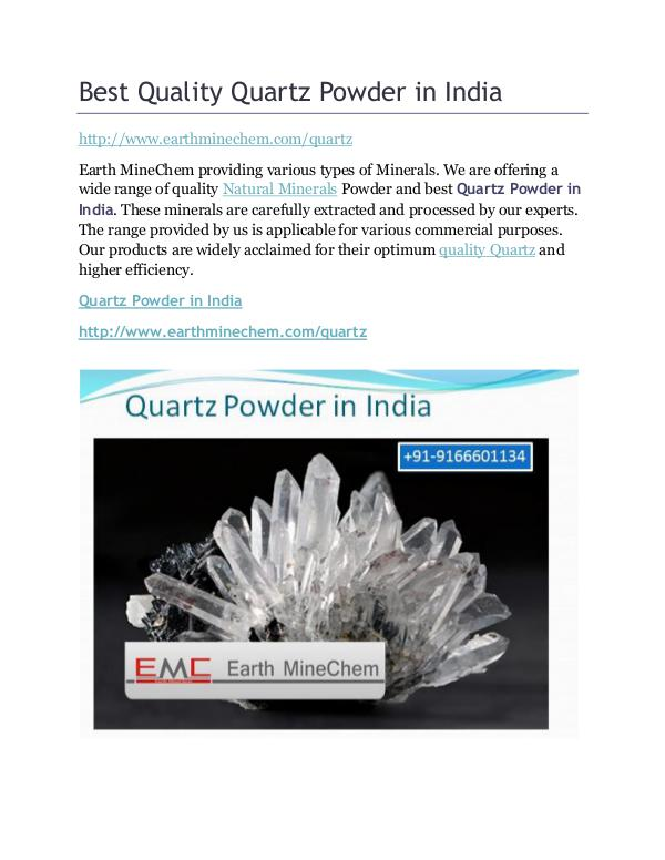 Best Quality Quartz Powder in India