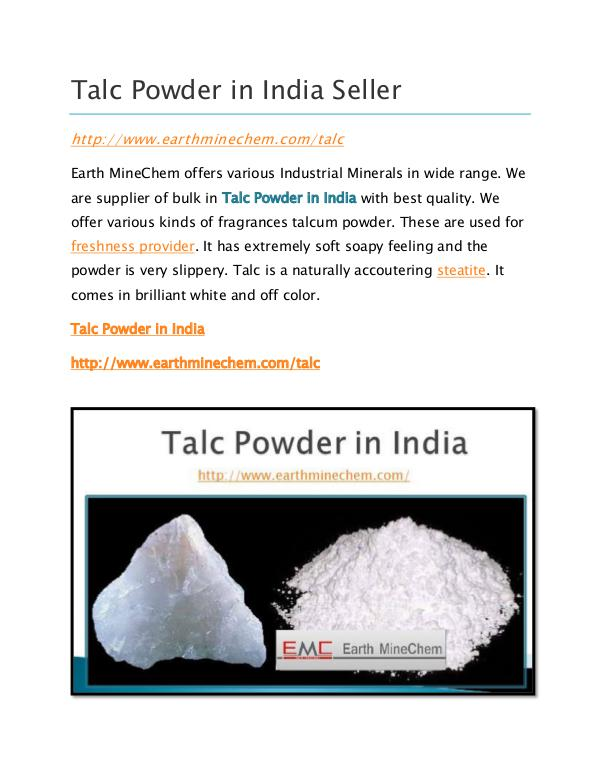 Talc powder in India Talc Powder in India Seller