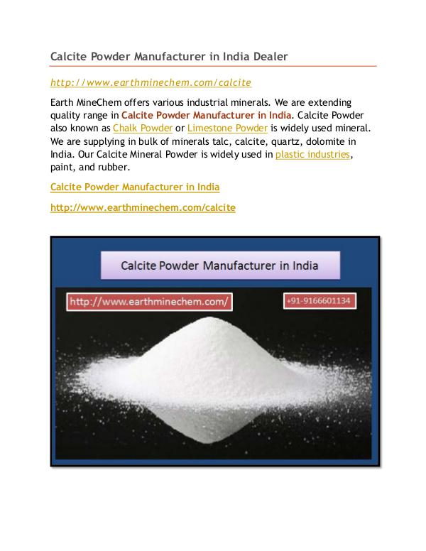 Calcite Powder Manufacturer in India Calcite Powder Manufacturer in India Dealer