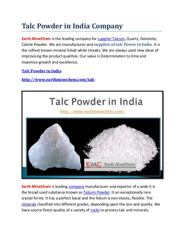 Talc powder in India Talc Powder in India Company