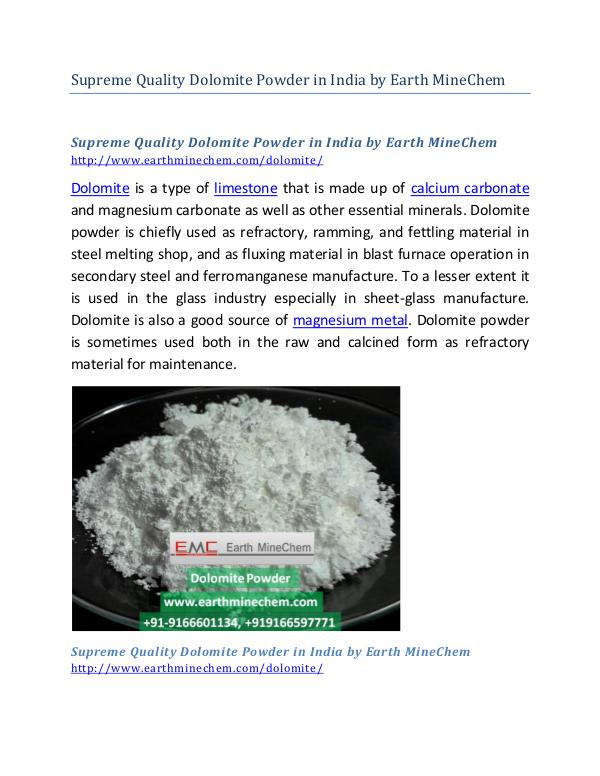 Supreme Quality Dolomite Powder in India by Earth MineChem Supreme Quality Dolomite Powder in India by Earth
