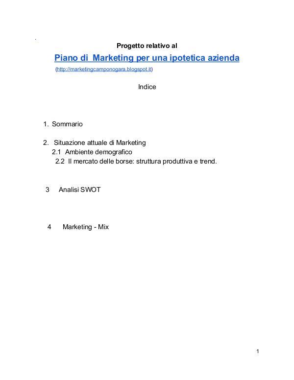 Simulazione di un Piano di Marketing 5 Aprile 2017