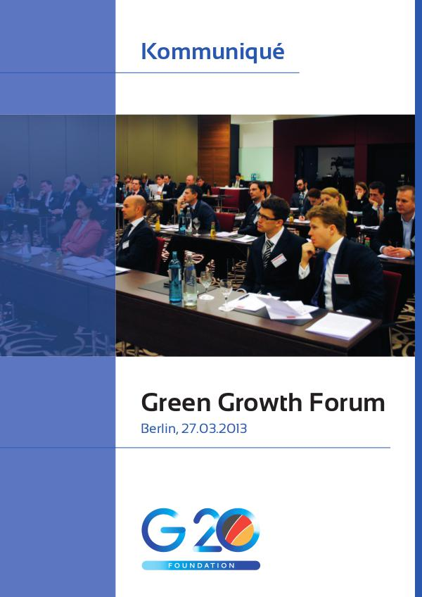 G20 Foundation Research Green Growth Forum Communique