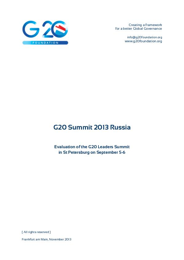 G20 Foundation Research G20 Russia Summit 2013