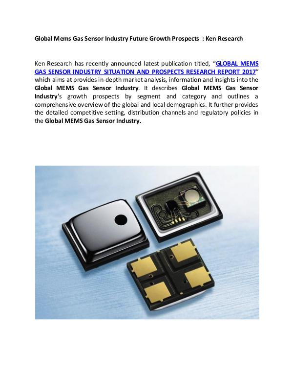 Global MEMS Gas Sensor market research report,Appl