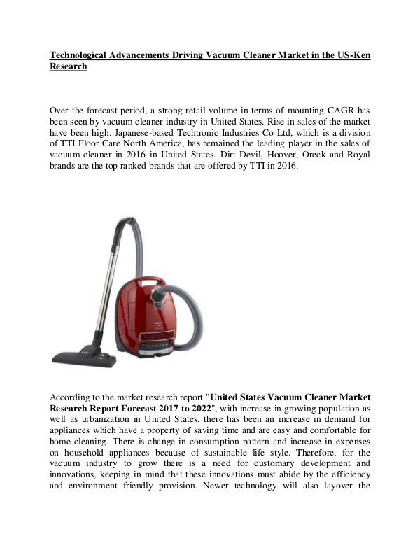 Market Research Report United States Vacuum Cleaner Market competition,US