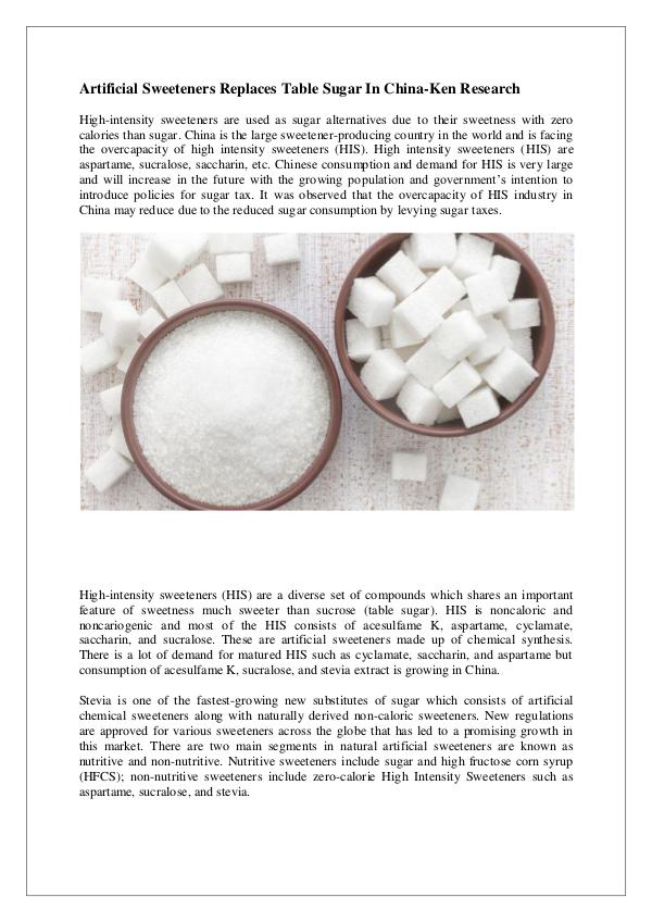 China Artificial sweeteners market research,China