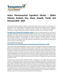 Active Pharmaceutical Ingredient Market 2017