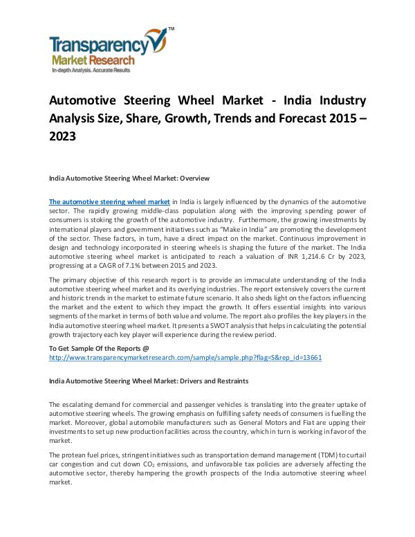 Automotive Steering Wheel Market Growth, Trends, Price and Forecast Automotive Steering Wheel Market