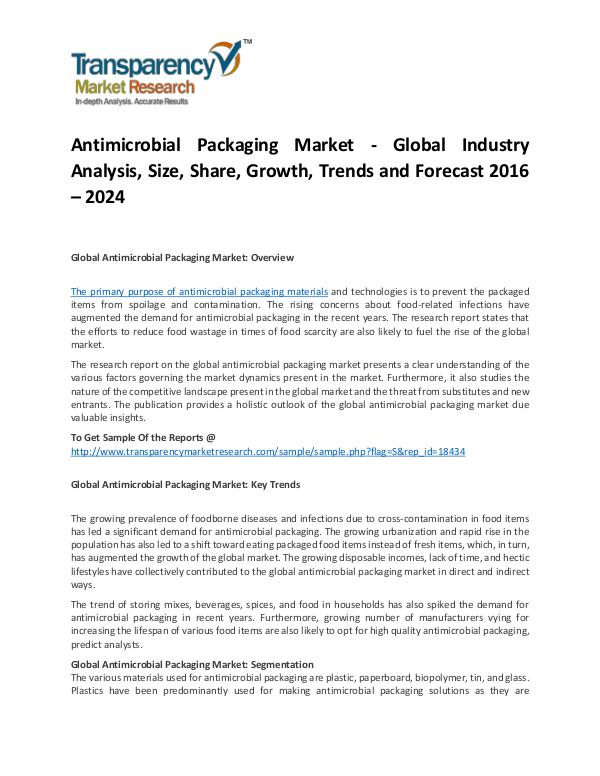 Antimicrobial Packaging Market Growth, Trends, Price and Forecast Antimicrobial Packaging Market