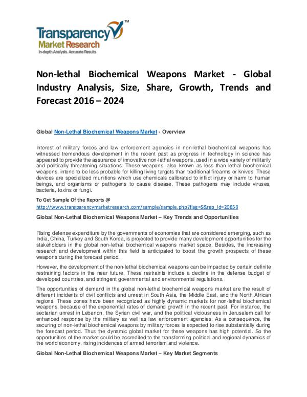 Non-lethal Biochemical Weapons Market Growth, Trends and Forecast Non-lethal Biochemical Weapons Market