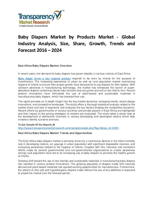 Baby Diapers Market Growth, Trends, Price, Demand and Forecast Baby Diapers Market