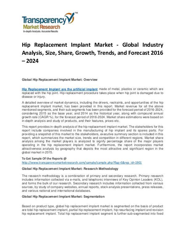 Hip Replacement Implant Market Growth, Price, Demand, and Analysis Hip Replacement Implant Market