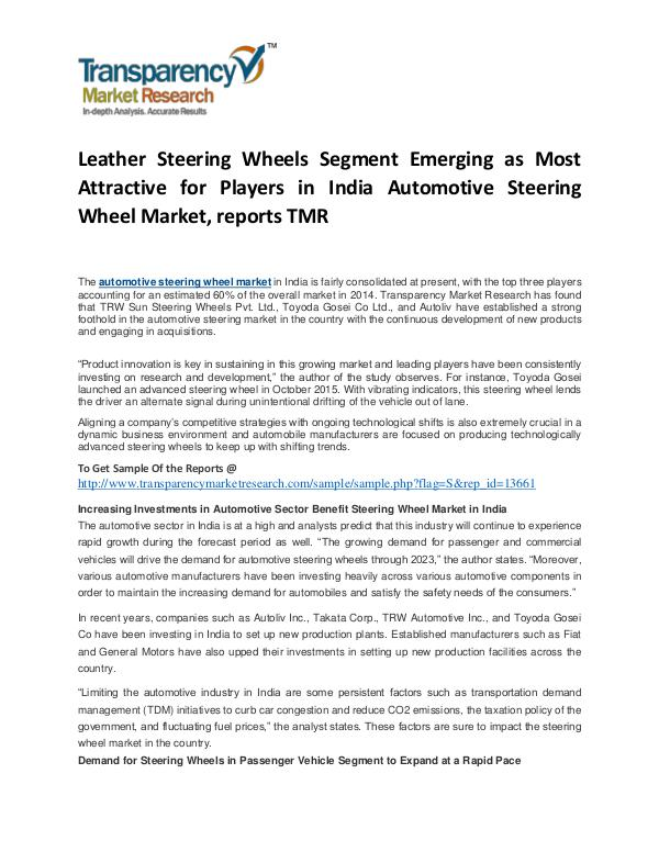 Automotive Steering Wheel Market Growth, Trends and Forecast Automotive Steering Wheel Market