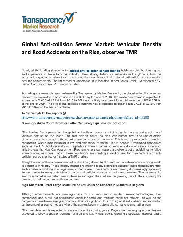 Anti-collision Sensor Market Size, Share, Trends and Forecast To 2024 Anti-collision Sensor Market