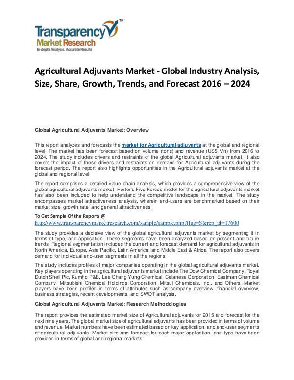 Agricultural Adjuvants Market Trends, Growth, Price and Analysis Agricultural Adjuvants Market
