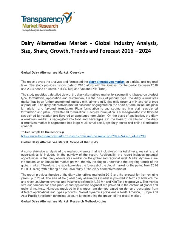 Dairy Alternatives Market Trends, Growth, Price, Demand and Analysis Dairy Alternatives Market