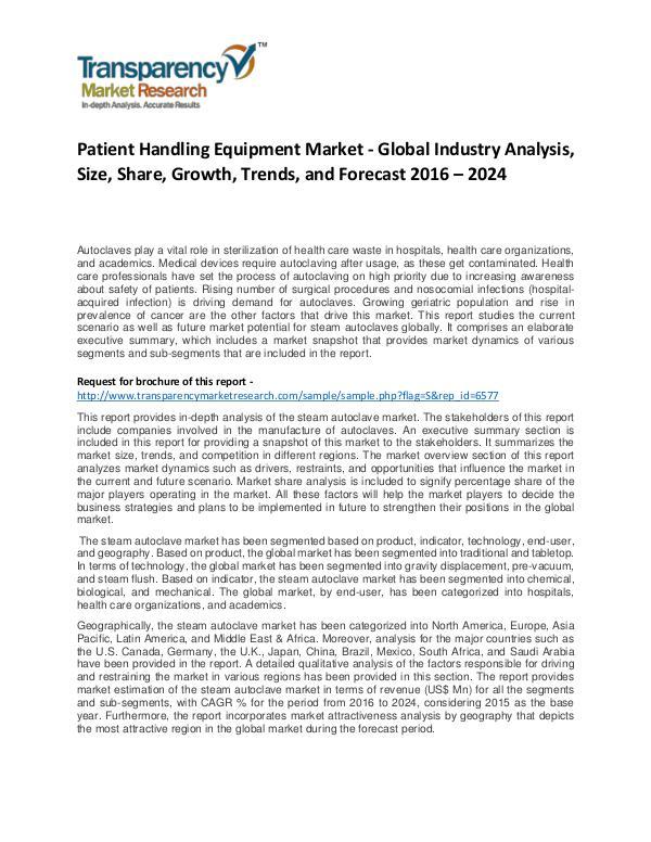 Patient Handling Equipment Market Growth, Trend, and Forecast To 2024 Patient Handling Equipment Market - Global Industr