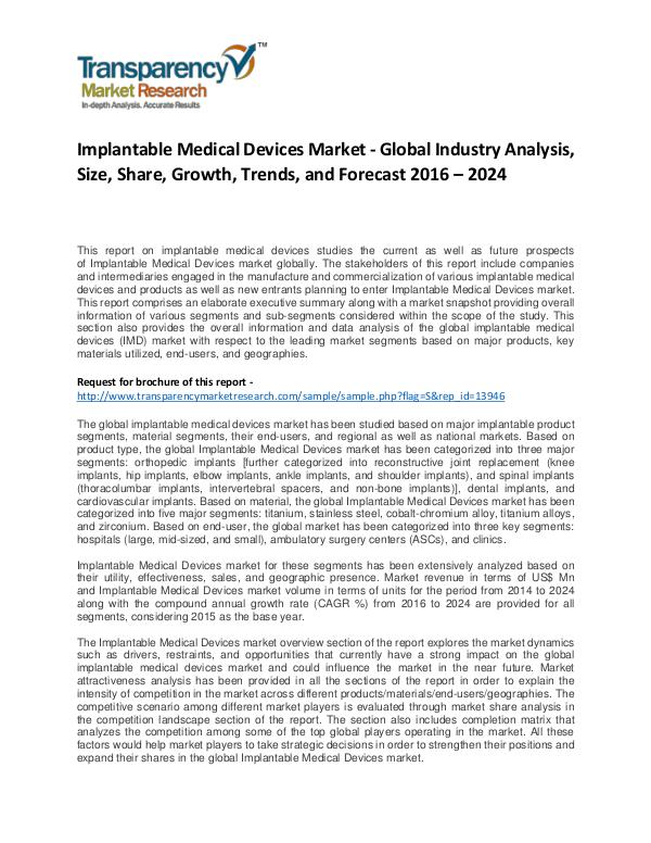 Implantable Medical Devices Market Growth, Trend, and Forecast 2024 Implantable Medical Devices Market - Global Indust
