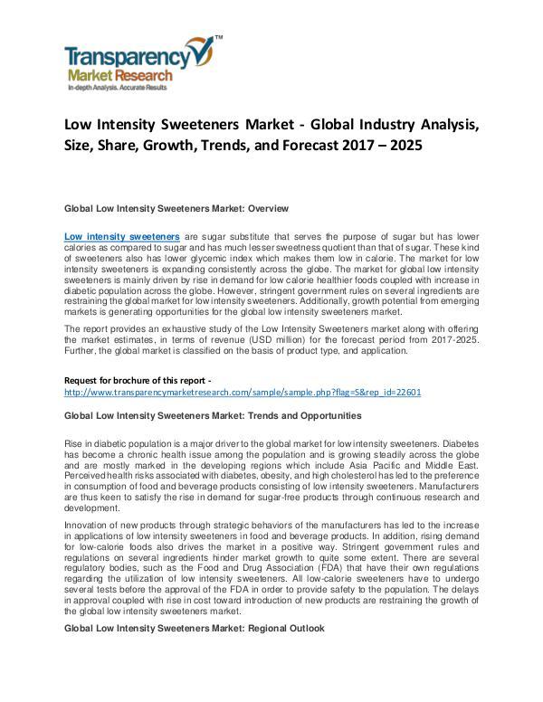Low Intensity Sweeteners Market Growth, Trend, and Forecast To 2024 Low Intensity Sweeteners Market - Global Industry