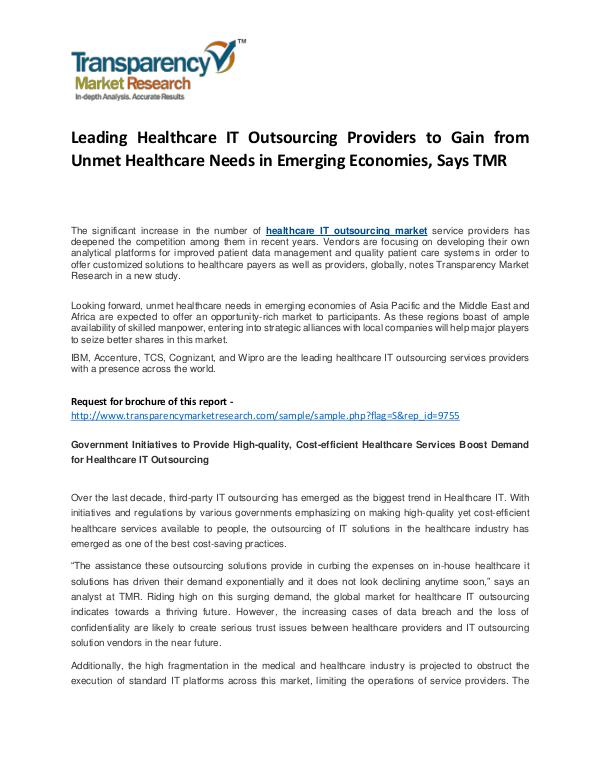 Healthcare IT Outsourcing Market Growth, Trend, Price and Forcast Leading Healthcare IT Outsourcing Providers to Gai