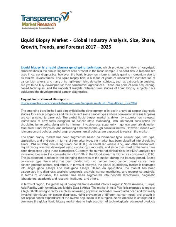 Liquid Biopsy Market Growth, Trend, Price, Demand and Forecast Liquid Biopsy Market - Global Industry Analysis, S