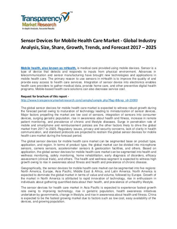 Sensor Devices for Mobile Health Care Market Growth and Forecast Sensor Devices for Mobile Health Care Market - Glo