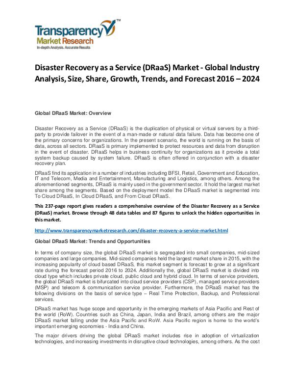Disaster Recovery as a Service Market Size, Share and Forecast Disaster Recovery as a Service (DRaaS) Market - Gl