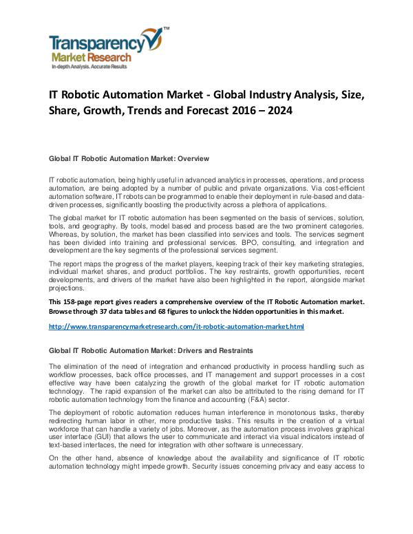 IT Robotic Automation Market Size, Share, Demand and Forecast IT Robotic Automation Market - Global Industry Ana