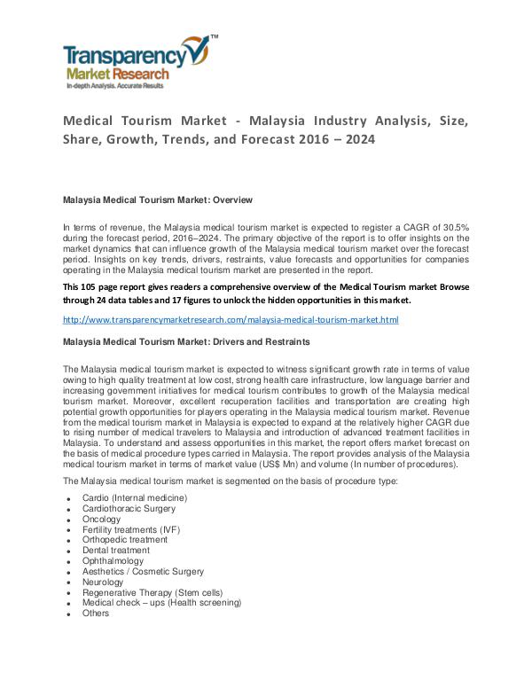 Medical Tourism Market Trends and Forecast 2016 – 2024 Medical Tourism Market - Malaysia Industry Analysi