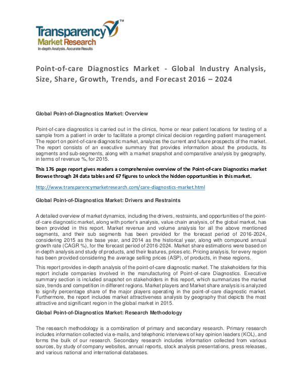 Point-of-care Diagnostics Market Research Report 2016 Point-of-care Diagnostics Market - Global Industry