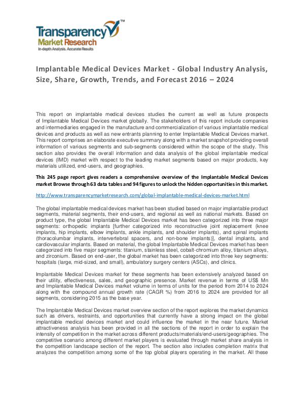 Implantable Medical Devices Market Trends, Growth, Price and Forecast Implantable Medical Devices Market - Global Indust