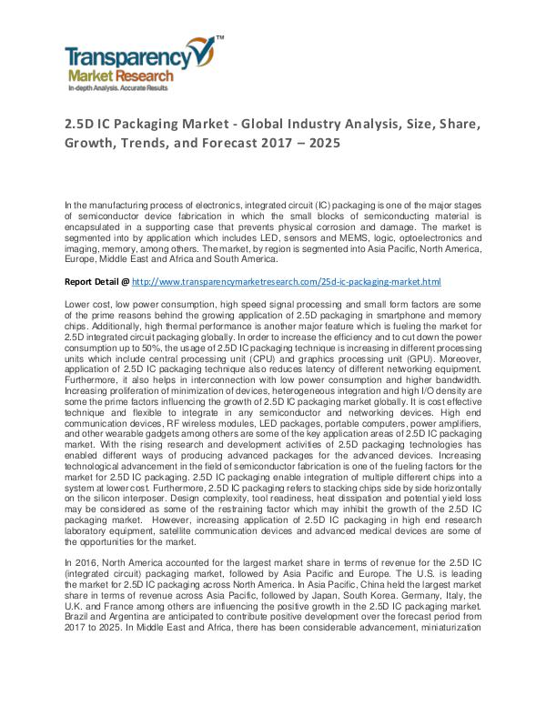 2.5D IC Packaging Market Trends, Growth, Price and Forecasts To 2024 2.5D IC Packaging Market - Global Industry Analysi