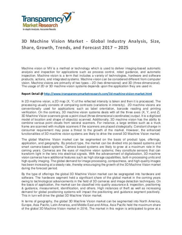 3D Machine Vision Market Trends, Growth, Price and Forecasts To 2024 3D Machine Vision Market - Global Industry Analysi