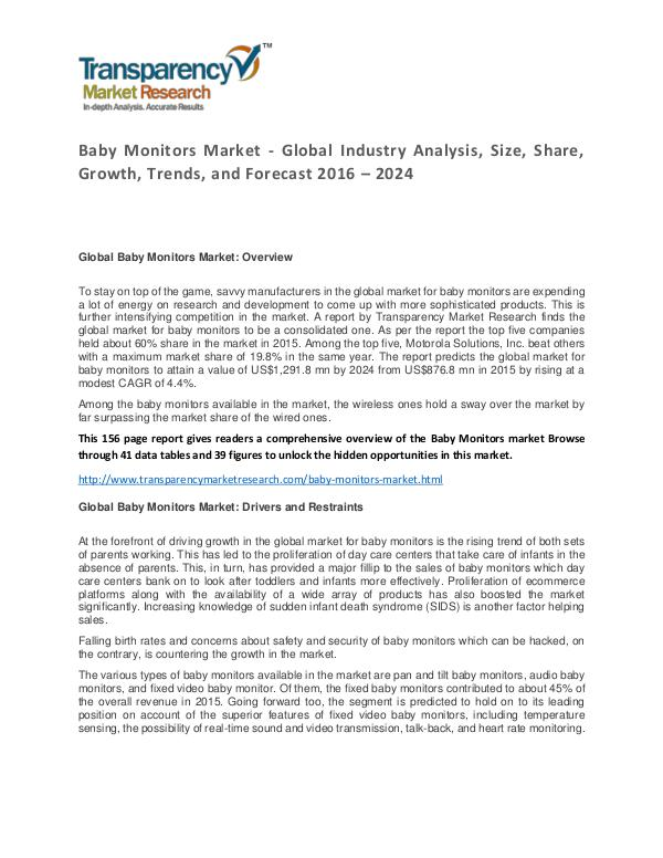Baby Monitors Market Size, Share, Growth, Trends and Forecast Baby Monitors Market - Global Industry Analysis, S