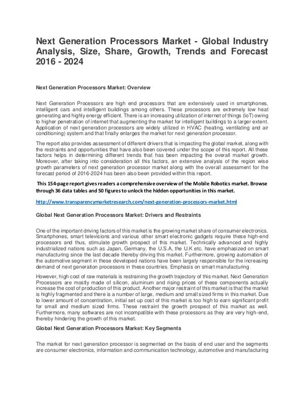 Next Generation Processors Market Size, Share, Trend and Forecast Next Generation Processors Market - Global Industr